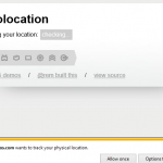 The web page is requesting to find my physical location.